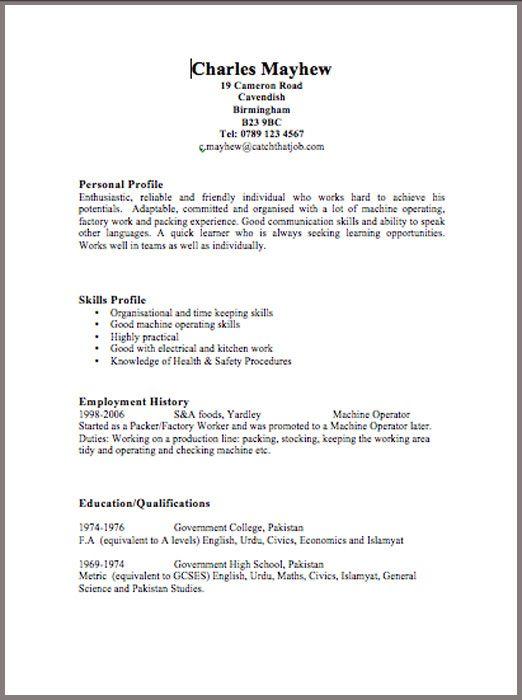 Free Cv Template Uk First Job