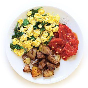 Curried tofu scramble w/ ginger-stewed tomatoes and garam-masala ...