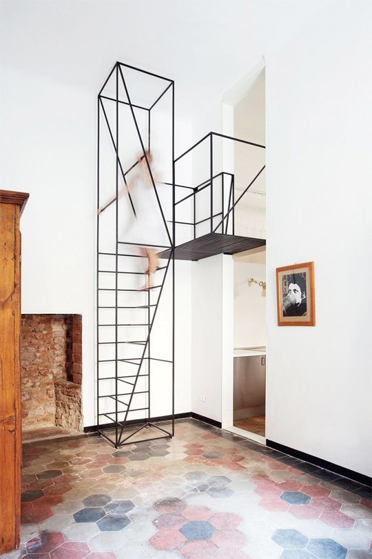 Sculptural (and Slightly Scary!) Small Space Steel Staircase by Francesco Librizzi