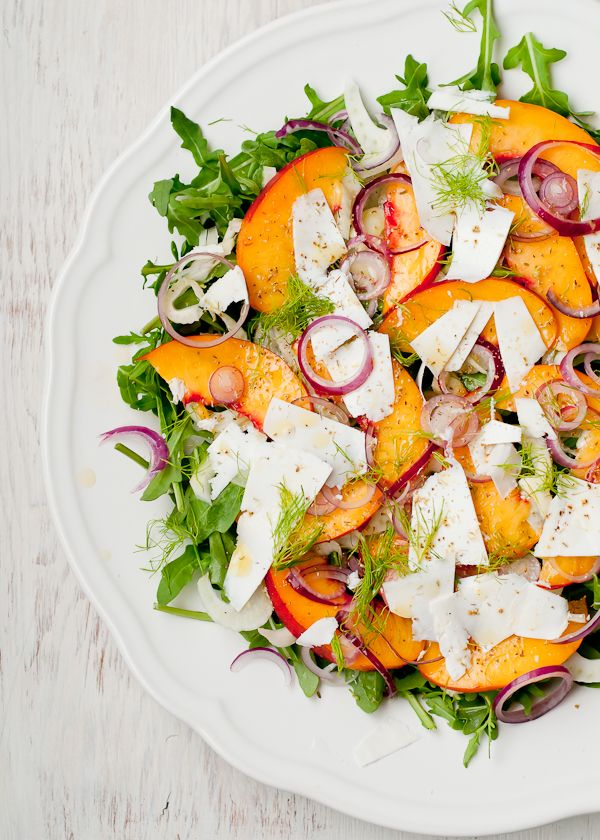 Nectarine, Fennel, Arugula Salad with Ricotta Salata, Red Onion and H ...