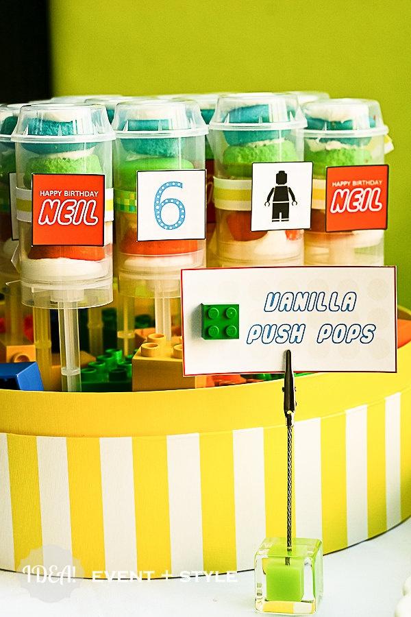 Lego party push pop dessert   {pretty} food display   Pinterest