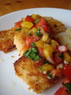 Panko Crusted Salmon with Fruit Salsa | What'cha Got Cookin'? | Pinte...