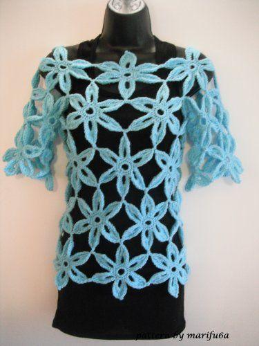 flower tunic, sweater, top by marifu6a nr 37 pattern pdf: Crochet ...