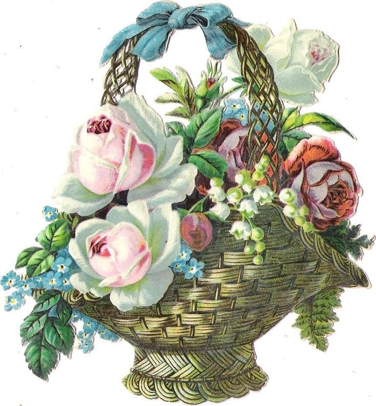 Oblaten Glanzbild scrap die cut chromo  Blumen Korb 12cm flower basket rose at.picclick.com