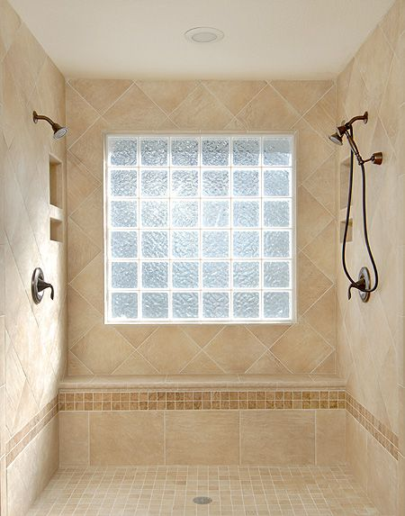 Glass block shower window bathroom designs pinterest for Master bathroom window ideas