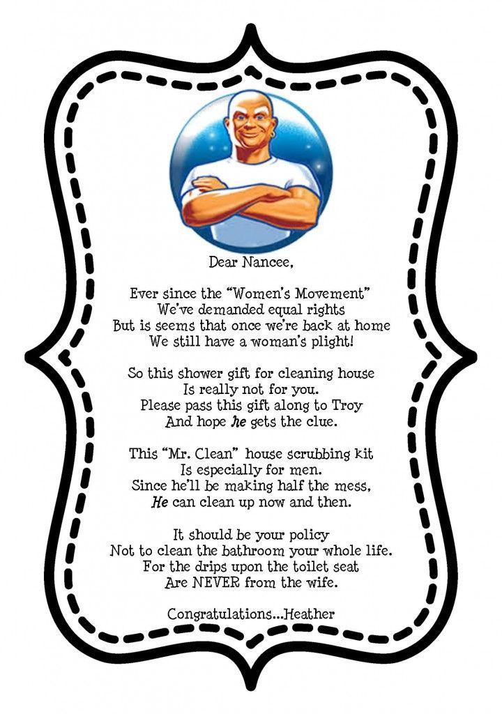 Mr. Clean Gift Tag for Bridal Shower Cleaning Gift ...