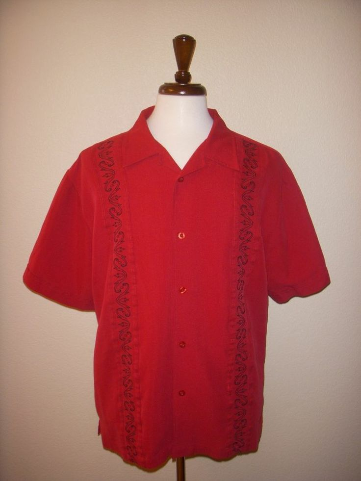 The havanera co red black embroidered hawaiian camp