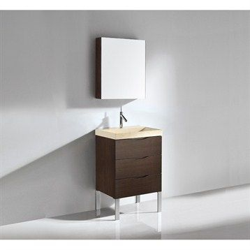 Bathroom vanity with integrated basin walnut with polished chrome