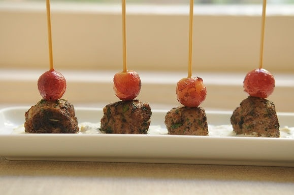 kefta-style meatballs with grilled grapes and yogurt sauce | catering ...