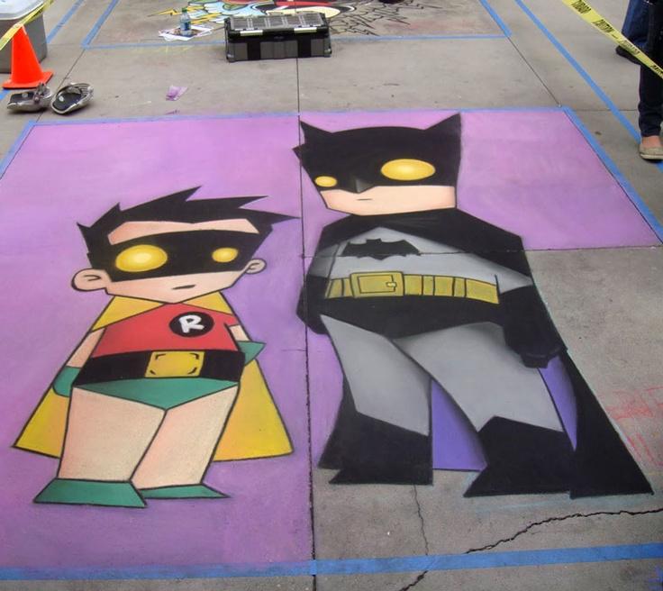Batman and Robin chalk art at Chalk fest.