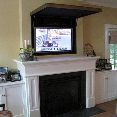 Hiding A Flat Panel Tv Above A Fireplace Livingroom Pinterest