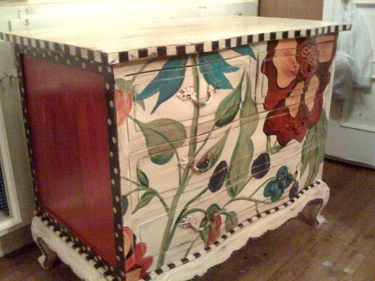 Hand Painted Furniture ~ Red Floral