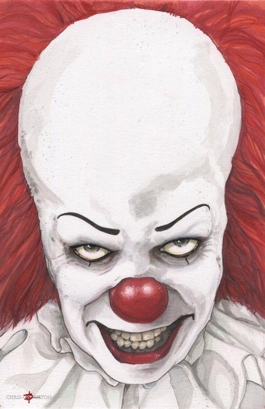 Страшный клоун из оно рисунок