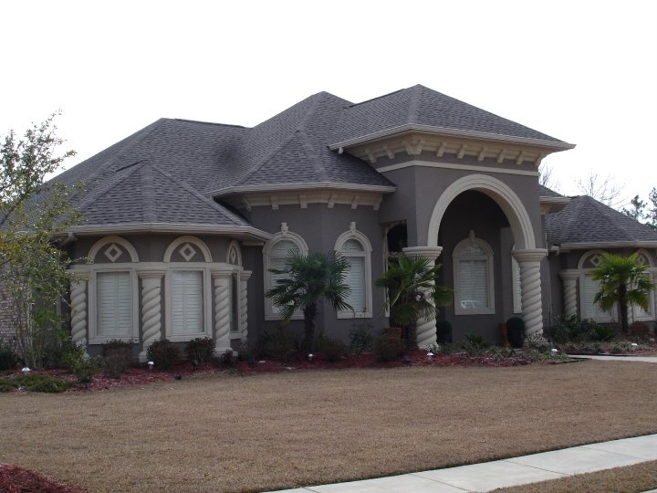 Stucco Home With Spiral Columns  Islander Stucco Systems Inc  Pin
