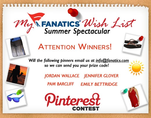 """Congratulations @Jordan Wallace @Pam Barclift @Jennifer Glover and @Emily Bettridge! You are all winners of our Wish List Contest! Check out our """"HOT Items!"""" board to see what you've won off your wish list! Please email info@fanatics.com so we can send you your prize code :) And be sure to check your spam folder for our reply."""