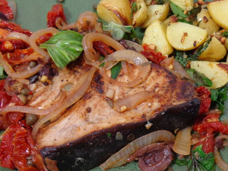 Sicilian Style Swordfish with Parsley Garlic Potatoes via ...
