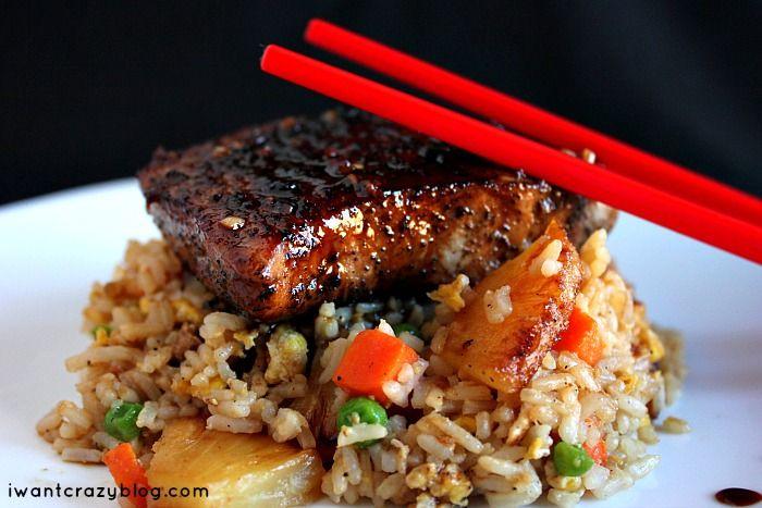 Pork Chops with Pineapple Fried Rice. www.iwantcrazyblog.com #pork # ...