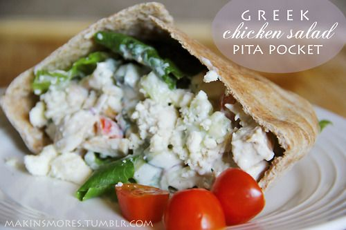 Greek Chicken Salad Pita Pocket . click here for recipe Follow for ...