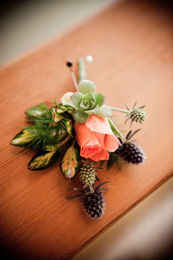 a light pink, purple and green boutonniere -  music inspired DIY wedding - photos by top Orange County, CA wedding photographers Viera Photographics