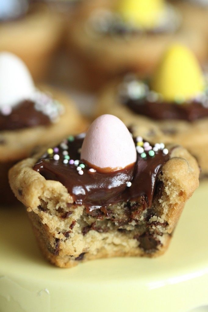 Chocolate Chip Cookie Cups with Milk Chocolate Ganache ...