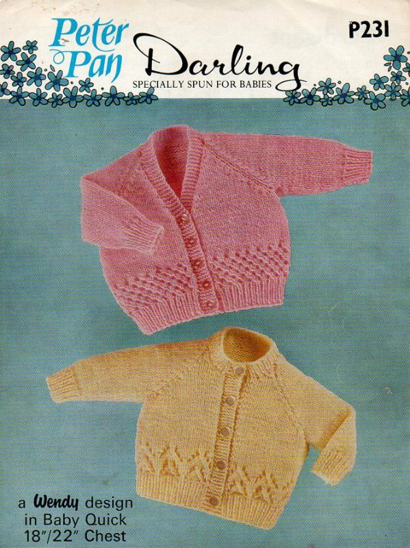 Peter Pan Darling DK baby cardigans Vintage Knitting pattern P231 on