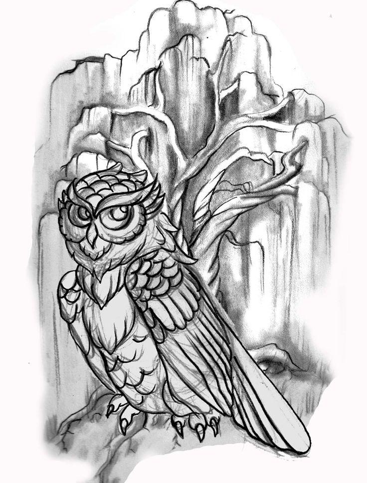 Owl Line Drawing Tattoo : Line drawing owl willow tree tattoo tattoos pinterest