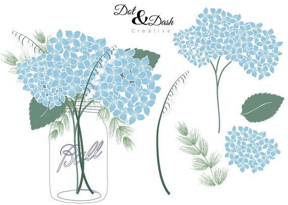 Hydrangea Mason Jar Bouquet Digital Clip Art by DotandDashCreative