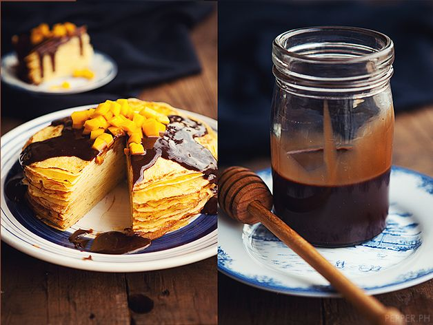 Bailey's Choco-nutella Ganache Crepe Cake Topped with Mangos (from ...