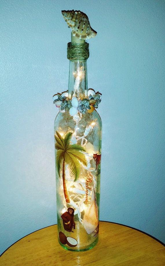Glass wine bottle light caribbean lighted wine bottle for Light up wine bottles