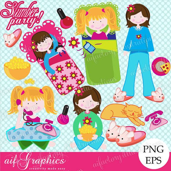 ... party cute pink girls sleepover clipart-digital png clipart f