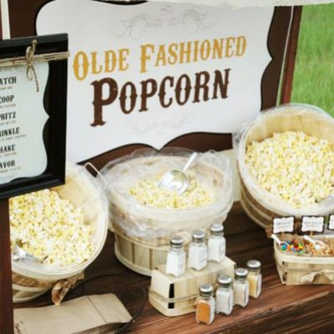 Rustic popcorn bar party food ideas food pinterest for Food bar party ideas