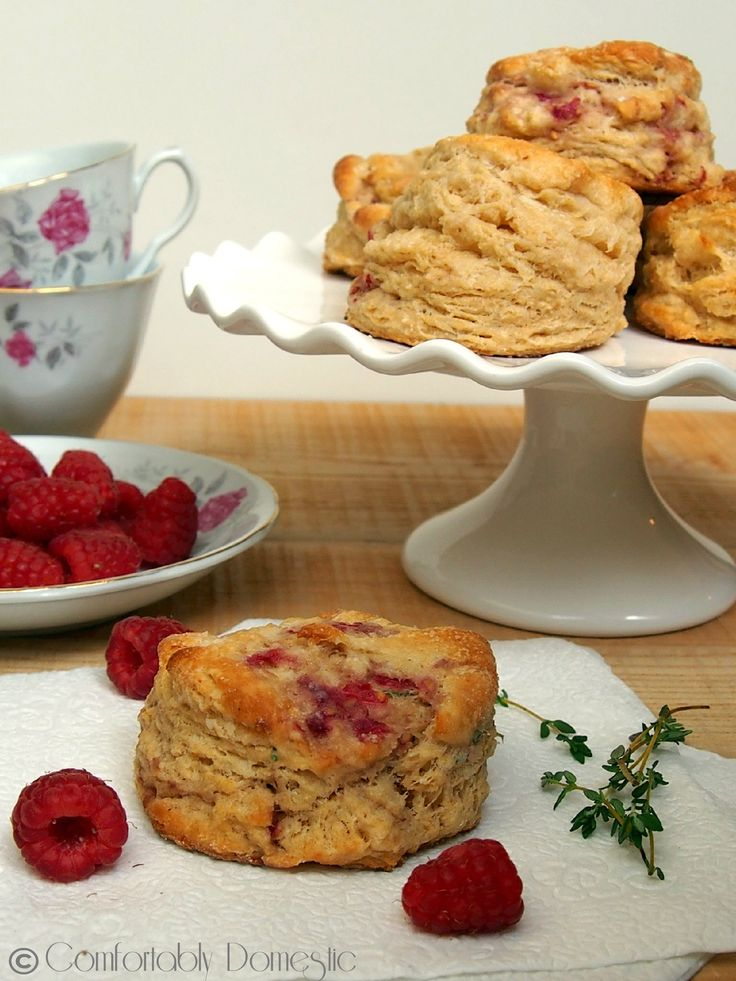 Raspberry, Thyme and Goat Cheese Biscuits from ComfortablyDomestic.com