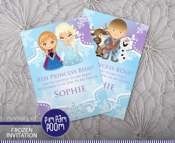 frozen birthday party invitation printable pdf baby shower girls