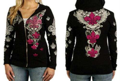 Fleur Di Lis Wings Tattoo Style Design Womens Hoodie for Harley