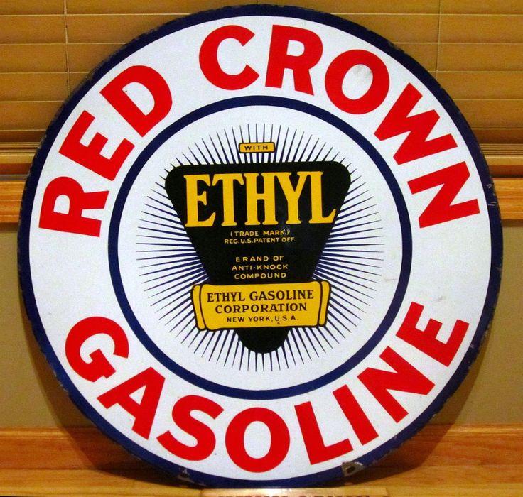 Red crown gasoline porcelain sign vintage 1920 gas station