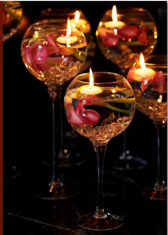 Copas lindas con velas decoracion navidad pinterest - Copas decoradas con velas ...