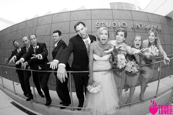 fun zombie wedding party photo