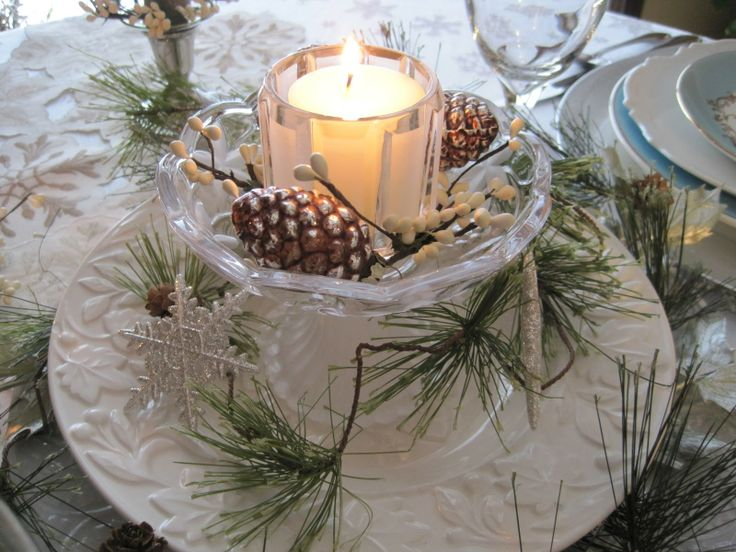 Pretty china winter centerpiece winter home decor for Home decor centerpieces