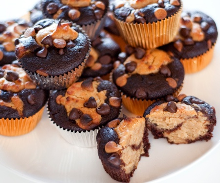 Chocolate-Peanut Butter Layered Cupcakes... drool