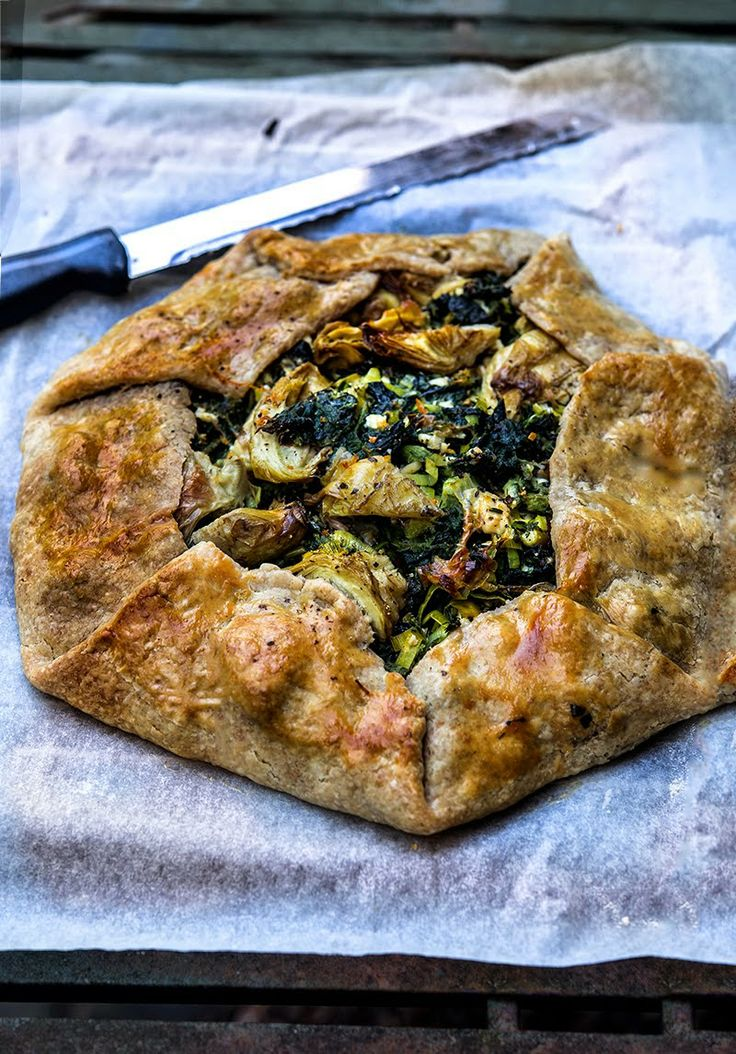 ... Greens and Sardines : Wild Greens Galette with Artichokes and Feta
