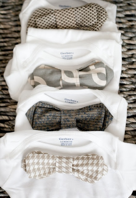 DIY little gentlemen onesies. The bows velcro on and off for easy washing!