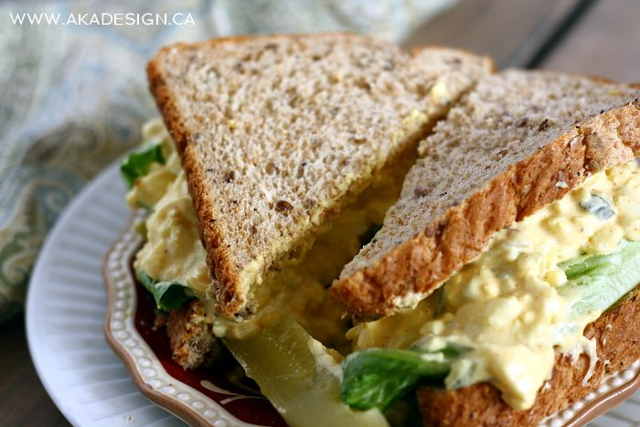 WHOLE GRAIN EGG SALAD SANDWICH Classic Egg Salad Recipe-cut mayo ...