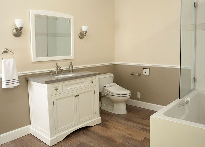 Two tone walls house pinterest 2 color bathroom paint ideas