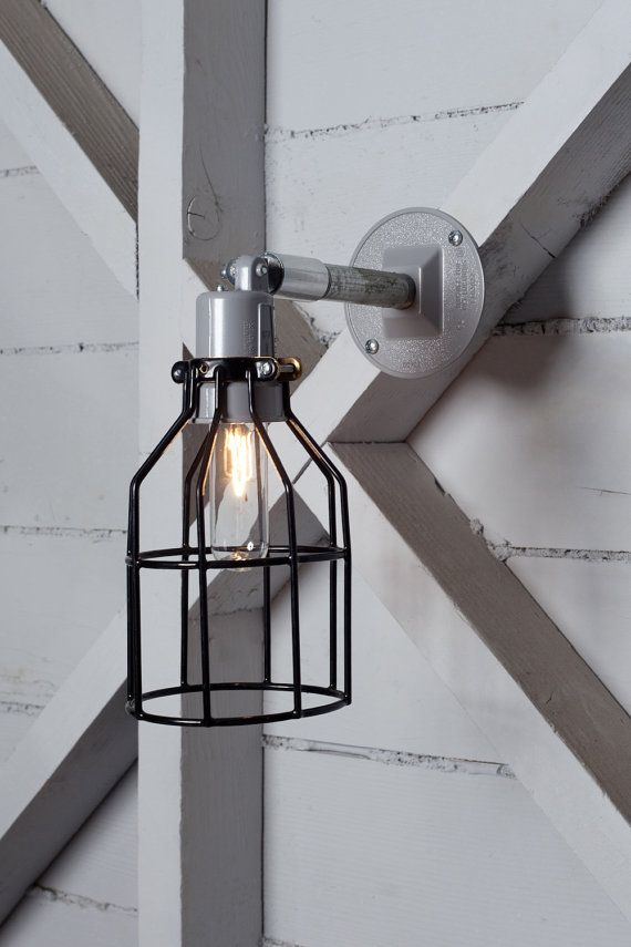 Industrial Wall Lamp - Outdoor Black Wire Cage Exterior Wall Sconce L?