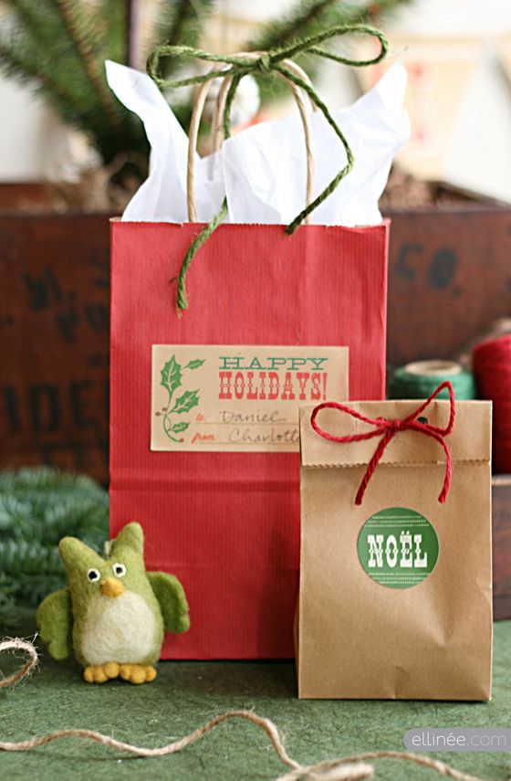 brown bags, rustic and woodsy
