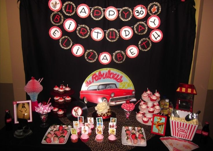 30th birthday pinup rockabilly goodies table my 30th bday pin up rockabilly party ideas. Black Bedroom Furniture Sets. Home Design Ideas