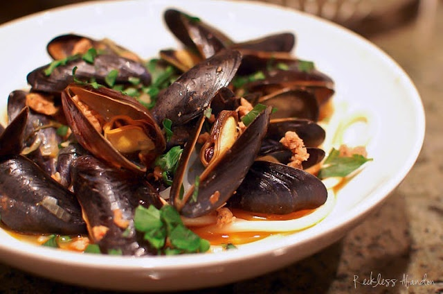 Steamed Mussels with Sausage in a White Wine Broth...easy, cheap meal ...