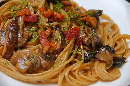 Spaghetti with Mushrooms and BACON ~ | Bacon≈BACON≈Bacon ...