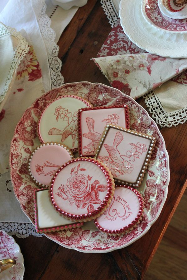 Red transferware cookies by Julia M. Usher