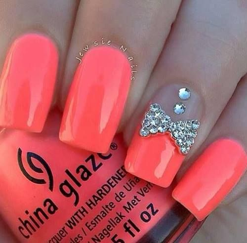 Nail Designs With Bows And Diamonds: Pink d leopard long pointy nail ...